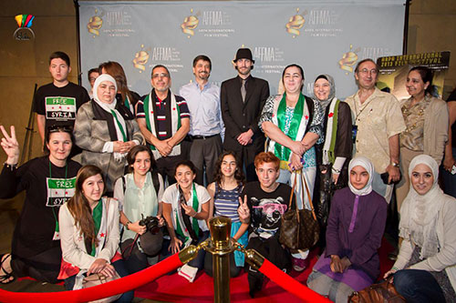 Director Matthew VanDyke with supporters of his documentary film about Syria